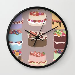Set of delicious cakes with fruits and berries Wall Clock
