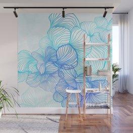 Blue Flora Wall Mural