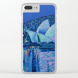 Sydney Opera House at Night - contemporary palette knife city landscape by Adriana Dziuba Clear iPhone Case