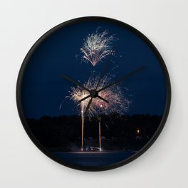 Fireworks Over Lake 26 Wall Clock