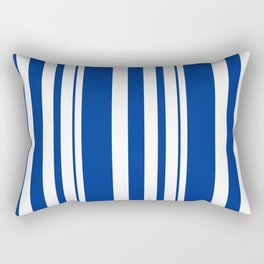 White and blue striped . Rectangular Pillow