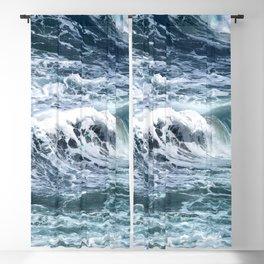 Blue Sea Ocean Waves Blackout Curtain