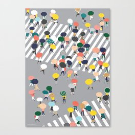 Crossing The Street on a Rainy Day - Grey Canvas Print