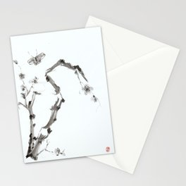 Plum Blossom and Butterfly Stationery Cards