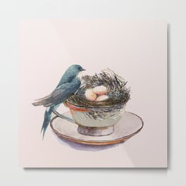 Bird nest in a teacup Metal Print