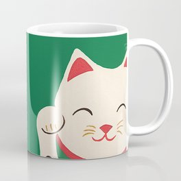 Green Lucky Cat Maneki Neko Coffee Mug