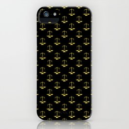 Gold Scales Of Justice on Black Repeat Pattern iPhone Case