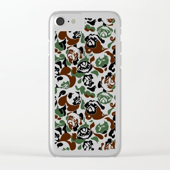 Pug Camouflage Clear iPhone Case