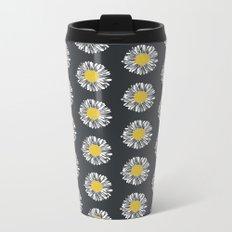 Daisy pattern basic flowers floral blossom botanical print charlotte winter dark color Metal Travel Mug