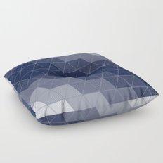 Indigo Navy Blue Triangles Floor Pillow