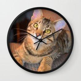Cute Bengal Kitty Wall Clock
