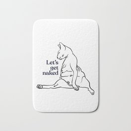 Let's Get Naked - Two Chubby Sphynx Cats - Line Art - Hairless Wrinkly Kitty- Black and White- Joke quote Bath Mat