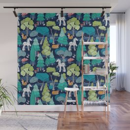 Geometric whimsical wonderland // navy blue background green forest with unicorns foxes gnomes and mushrooms Wall Mural