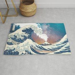 Great Wave Off Kanagawa Surrealism-Mount Fuji Eruption and Starry Sky Rug
