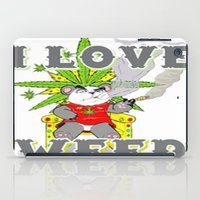 cannabis iPad Cases featuring Timothy The Cannabis Bear  by Timmy Ghee CBP/BMC Images  copy written
