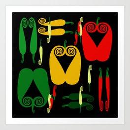 Pepper Paisley on Black Art Print