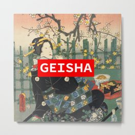 Geisha with Cherry Blossoms (Sakura trees) Metal Print