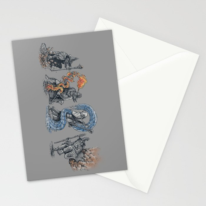 earth - fire - water - (bad) air Stationery Cards