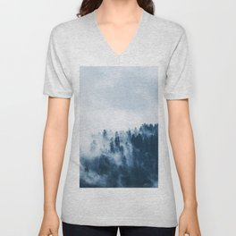 CLOUDS - WHITE - FOG - TREES - FOREST - LANDSCAPE - NATURE - TIMBER - WOODS - PHOTOGRAPHY Unisex V-Neck