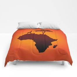 African Safari Map Silhouette Background Comforters