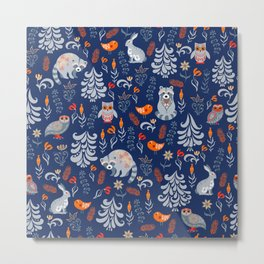 Fairy forest with animals and birds. Raccoons, owls, bunnies and little chick. Metal Print