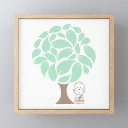 Little Buddha meditating under a tree Framed Mini Art Print