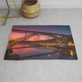 Historic Dom Luís I Bridge Douro River Porto Portugal Europe At Romantic Evening Red Ultra HD Rug