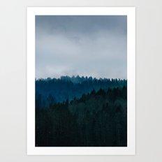 Misty Dark Blue Green Forest Art Print