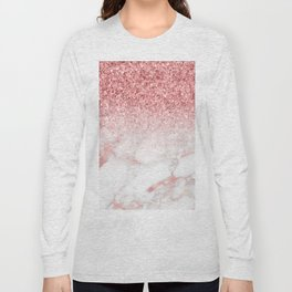 Rose-gold faux glitter and marble ombre Long Sleeve T-shirt