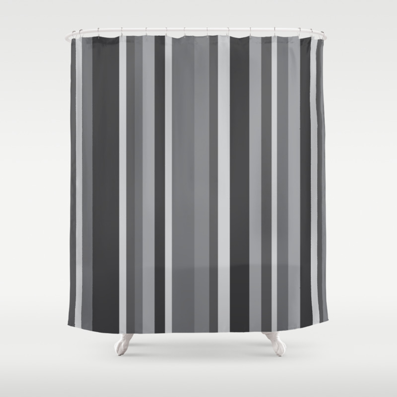 Grey Stripes Shower Curtain