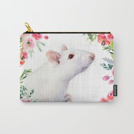 White Rat with Flowers Watercolor Floral Pattern Animal Carry-All Pouch