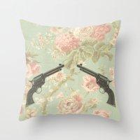 guns Throw Pillows featuring Guns & Flowers by fyyff