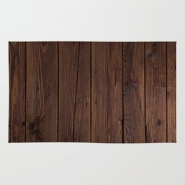 Rustic Dark Brown Wood Photography Rug