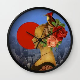 woman with birds and flowers hat Wall Clock