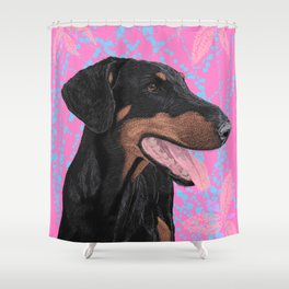Happy doberman dog - Pink Shower Curtain