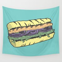 vegetarian Wall Tapestries featuring food masquerade by freshinkstain