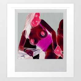 Porn Star [Inverted, Red] Art Print