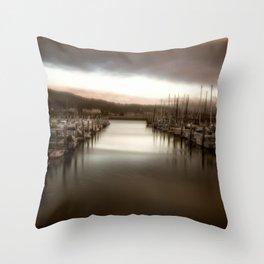 Unbalanced Half Moon Bay California Throw Pillow