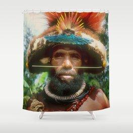 Global Citizen: Papua New Guinea Villager With Headdress Shower Curtain