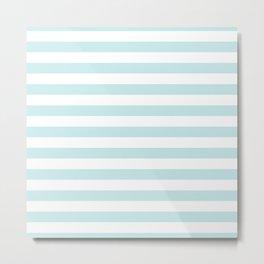 Duck Egg Pale Aqua Blue and White Wide Horizontal Beach Hut Stripe Metal Print