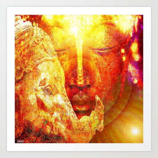 Buddha and Ganesh  Art Print