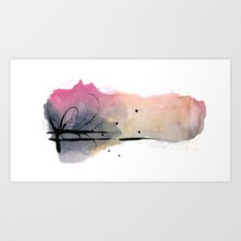 Abstract - Peach, Pink and Gray I Art Print