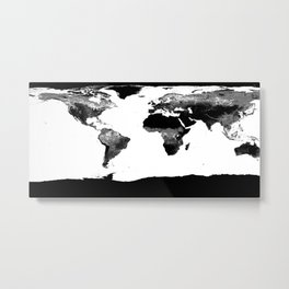 World Map  Black & White Metal Print
