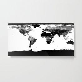World Map  Black & White Metal Print