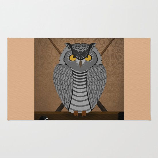 owl playing billiards Rug