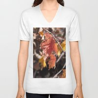 manchester V-neck T-shirts featuring Fall in Manchester, NH by Abby Hoffman