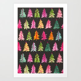 Colorful Vintage Bottlebrush Christmas Trees on Black Art Print