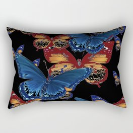 BLACK-BROWN  & BLUE BUTTERFLIES ART Rectangular Pillow
