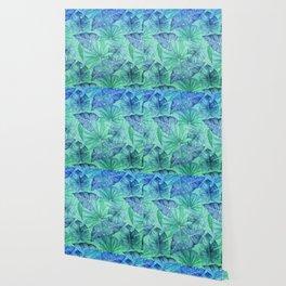 Blue and Ocean Green Summer Tropical Jungle Wallpaper