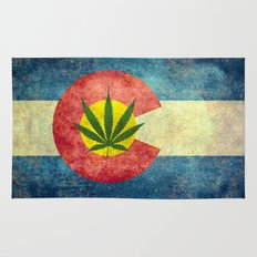 Retro Colorado State flag with the leaf - Marijuana leaf that is! Rug